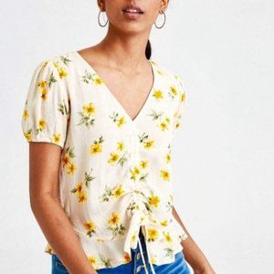 American Eagle Cinch Front Floral Top